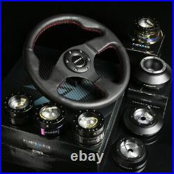 Nrg 130h Hub+gen 1.5 Quick Release+leather Red Stitches Steering Wheel Black