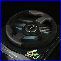 Nrg 130h Hub+gen 1.5 Quick Release+leather Suede 3 Spokes Steering Wheel Black