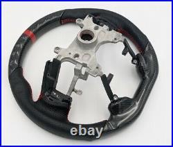 REVESOL Real Carbon Fiber Steering Wheel Red Ring for 13-17 Honda Accord Gen9
